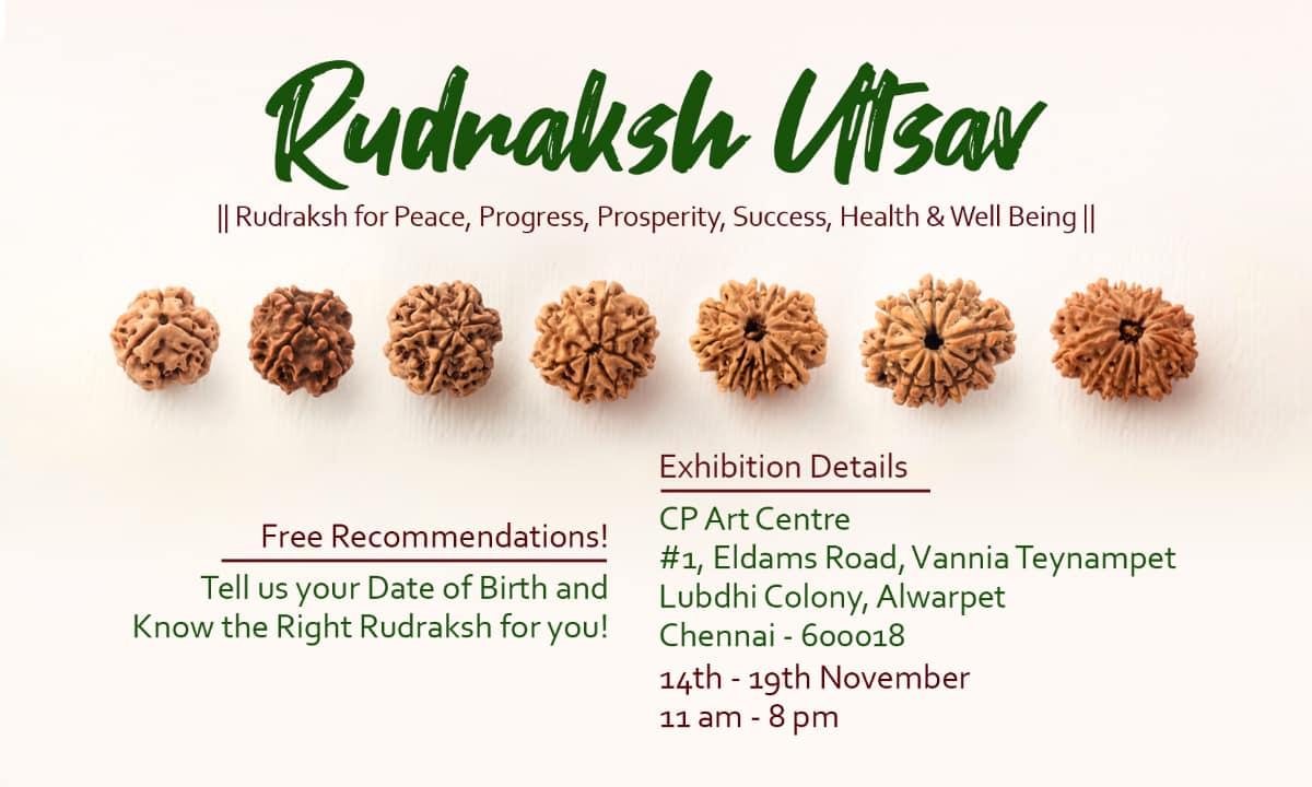 Rudrashaktii Rudraksha Utsav Chennai Banner with Details